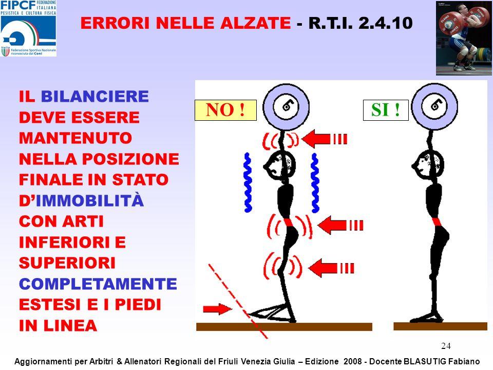 ERRORI NELLE ALZATE - R.T.I. 2.4.10