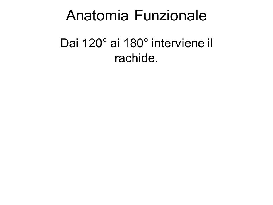 Dai 120° ai 180° interviene il rachide.