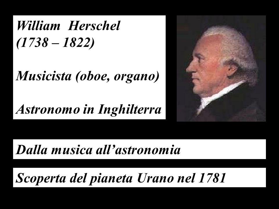 William Herschel (1738 – 1822) Musicista (oboe, organo) Astronomo in Inghilterra. Dalla musica all'astronomia.