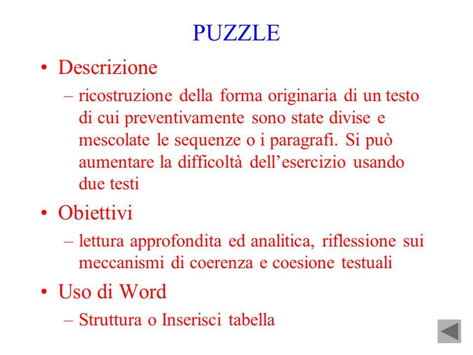 PUZZLE Descrizione Obiettivi Uso di Word