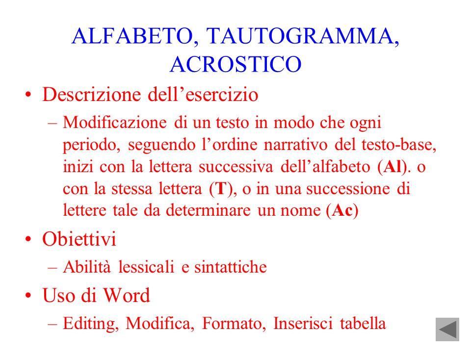 ALFABETO, TAUTOGRAMMA, ACROSTICO