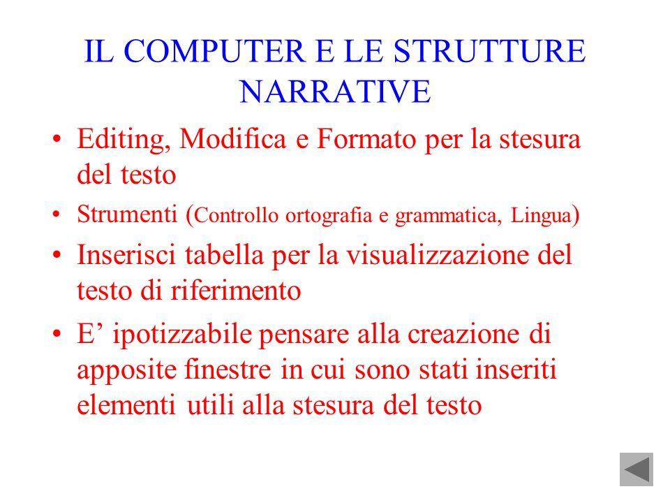 IL COMPUTER E LE STRUTTURE NARRATIVE