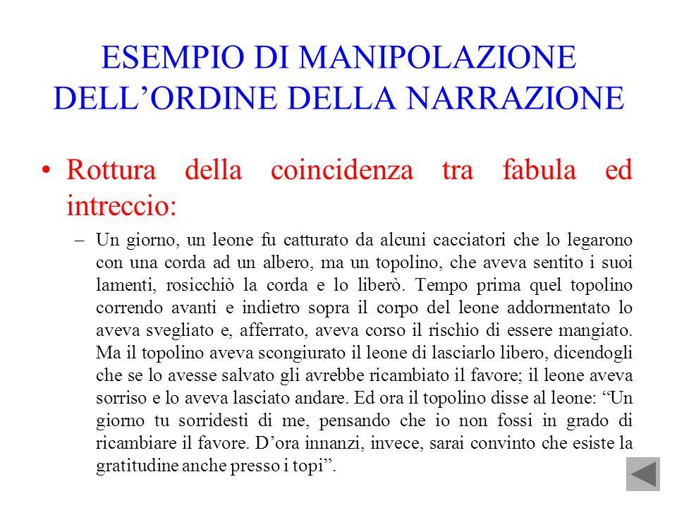 ESEMPIO DI MANIPOLAZIONE DELL'ORDINE DELLA NARRAZIONE