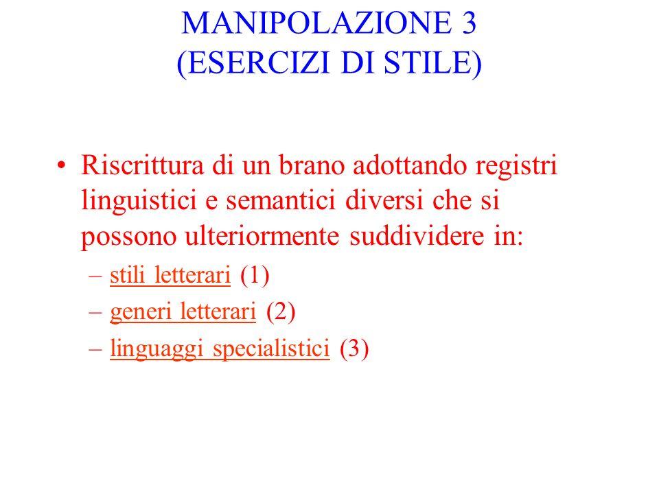 MANIPOLAZIONE 3 (ESERCIZI DI STILE)
