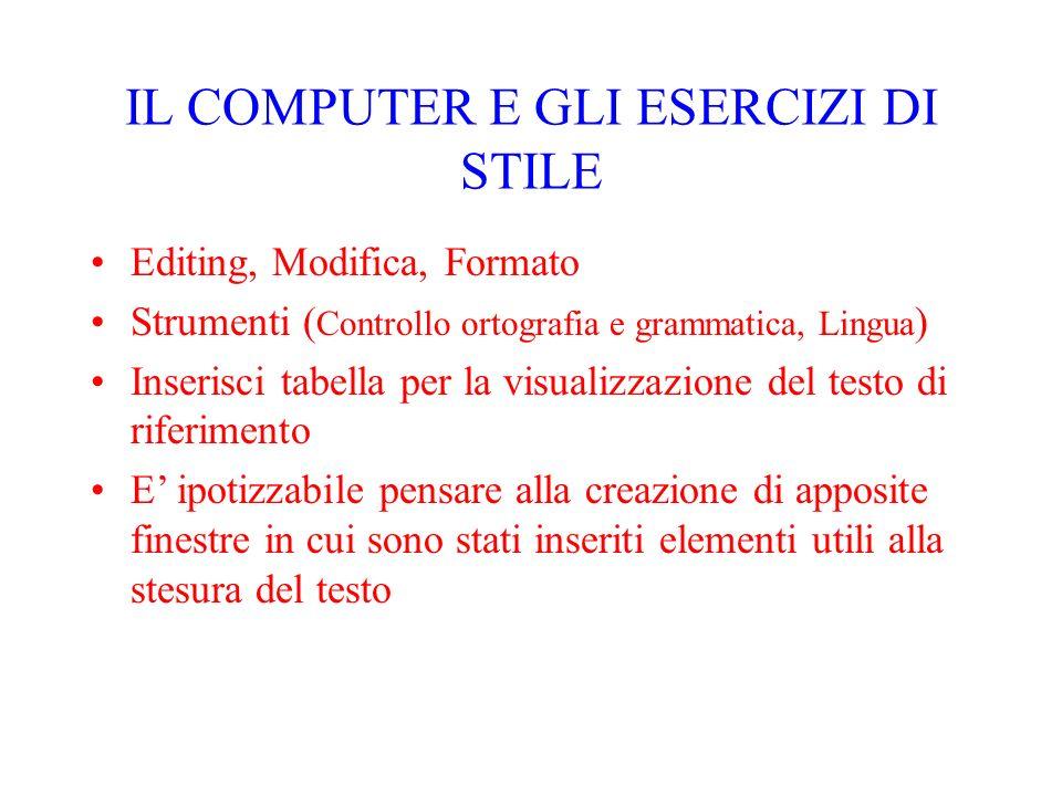 IL COMPUTER E GLI ESERCIZI DI STILE