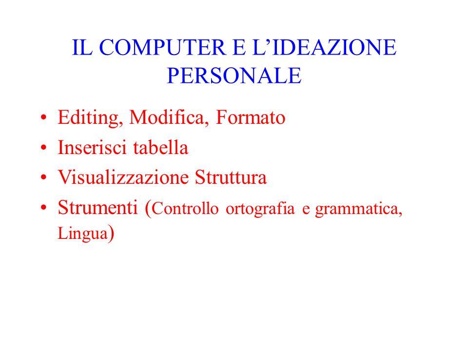 IL COMPUTER E L'IDEAZIONE PERSONALE