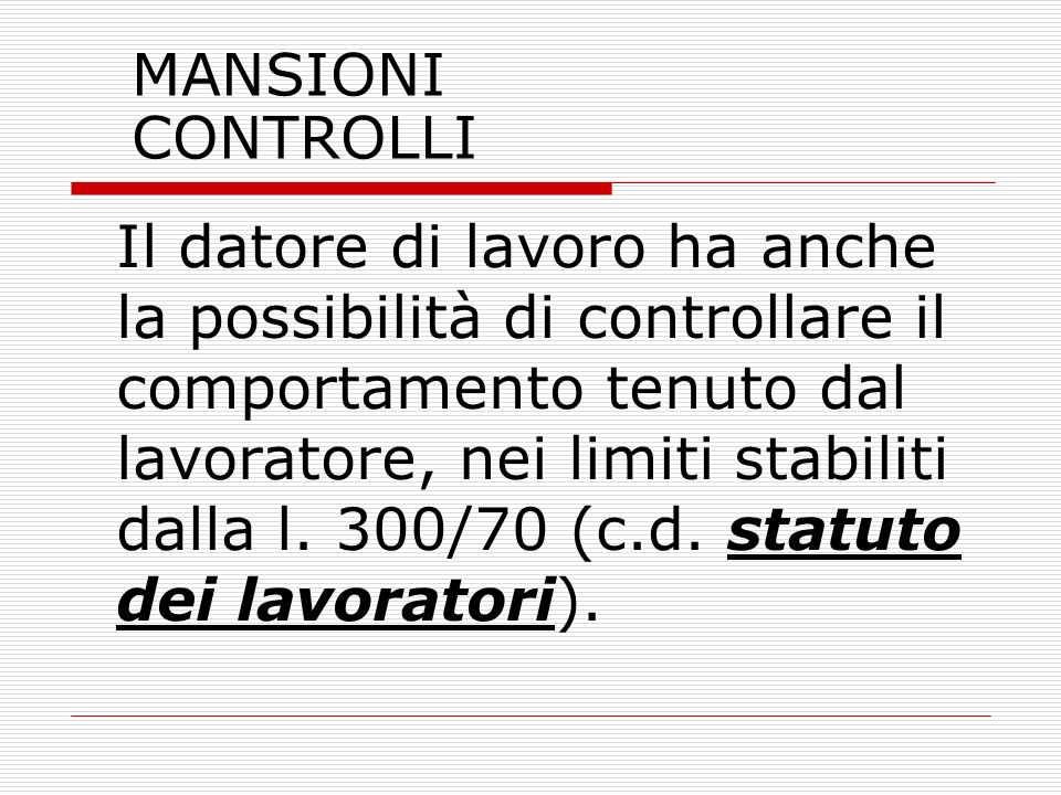 MANSIONI CONTROLLI
