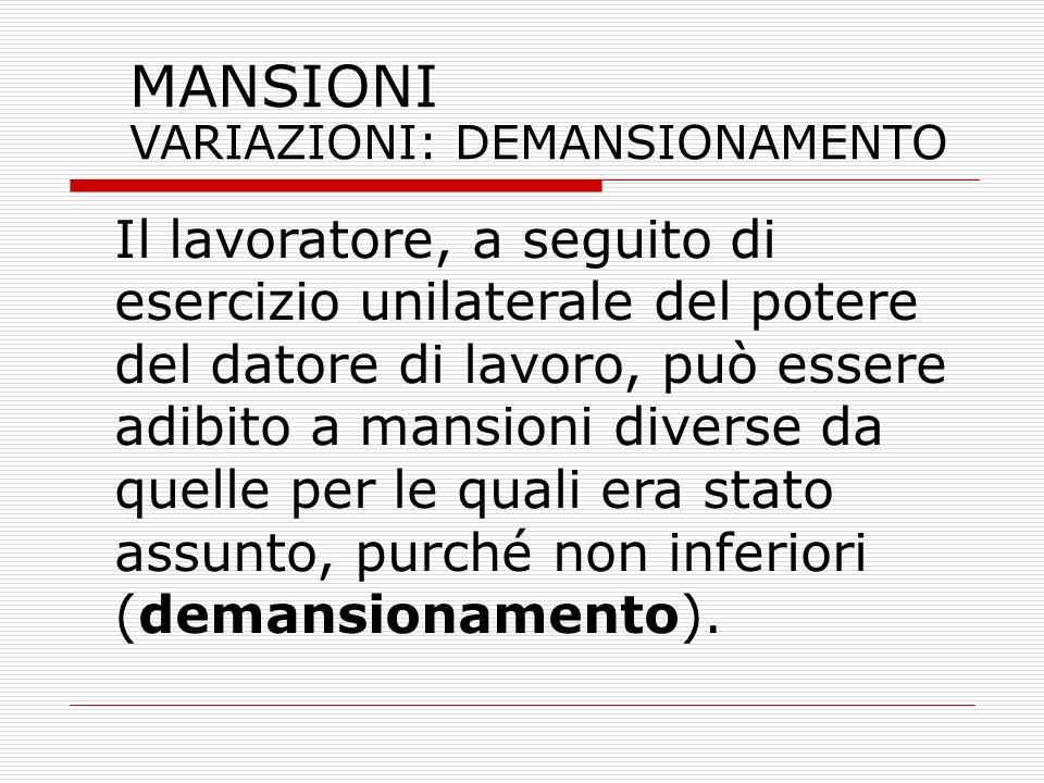 MANSIONI VARIAZIONI: DEMANSIONAMENTO