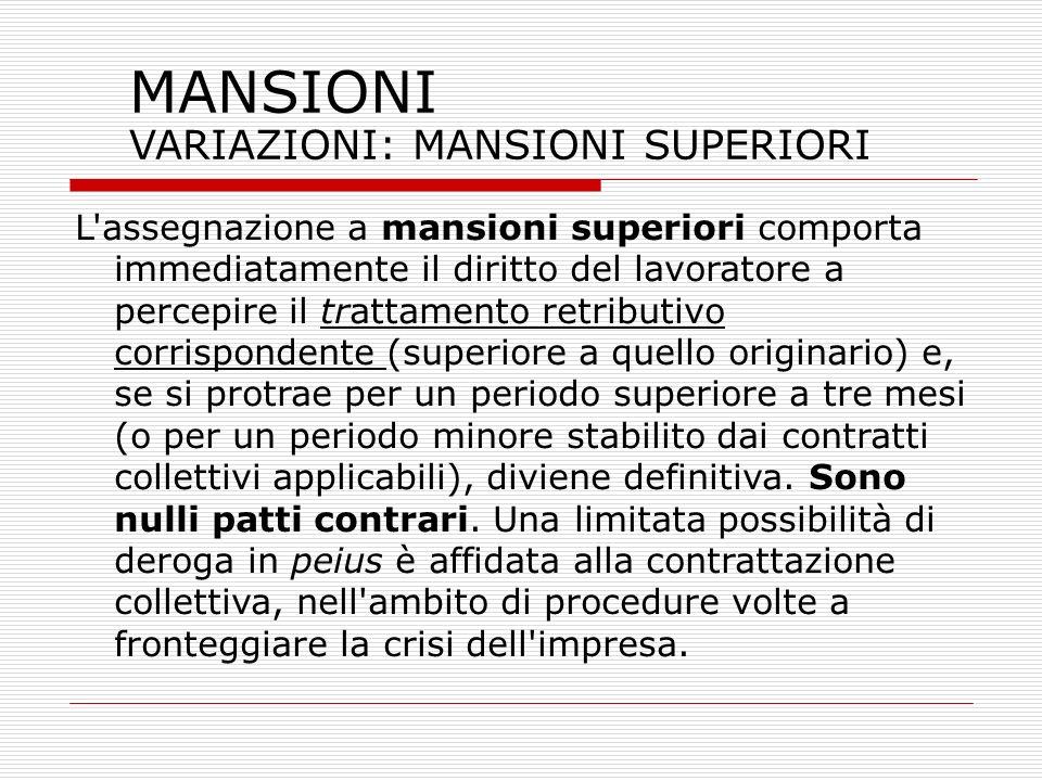 MANSIONI VARIAZIONI: MANSIONI SUPERIORI