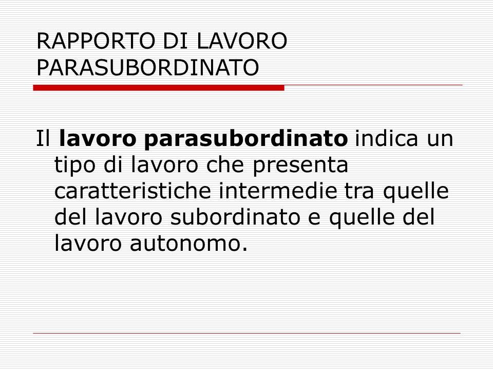 RAPPORTO DI LAVORO PARASUBORDINATO