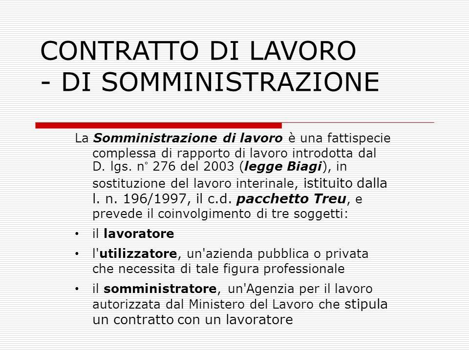 CONTRATTO DI LAVORO - DI SOMMINISTRAZIONE