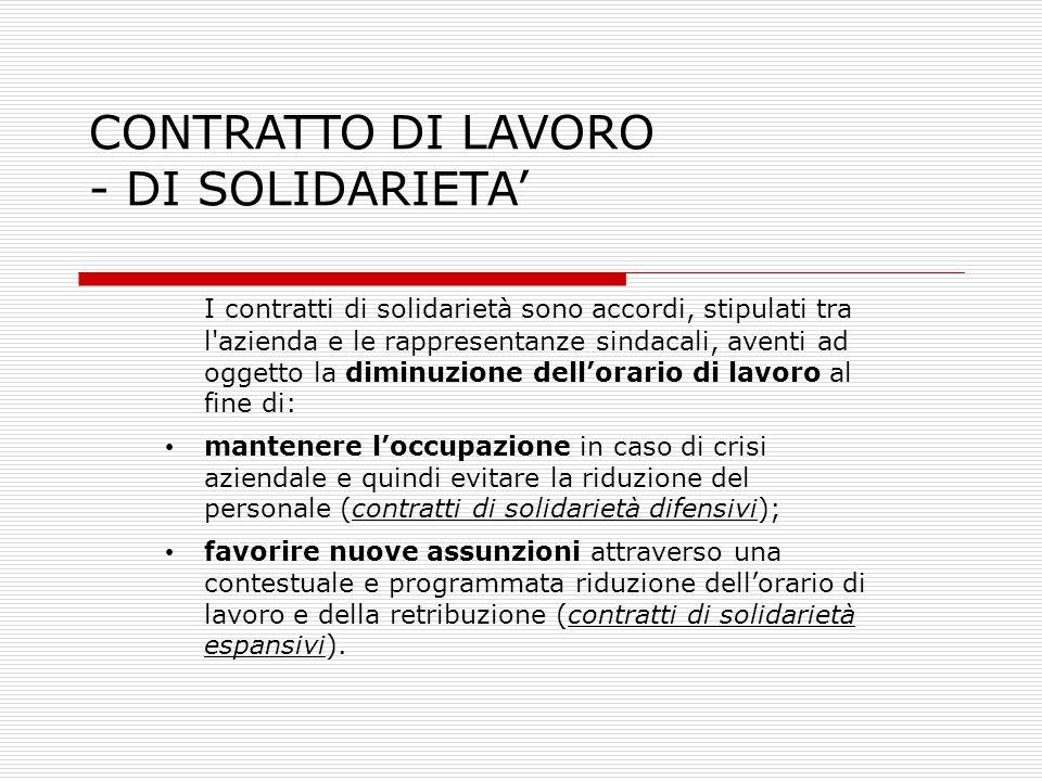 CONTRATTO DI LAVORO - DI SOLIDARIETA'