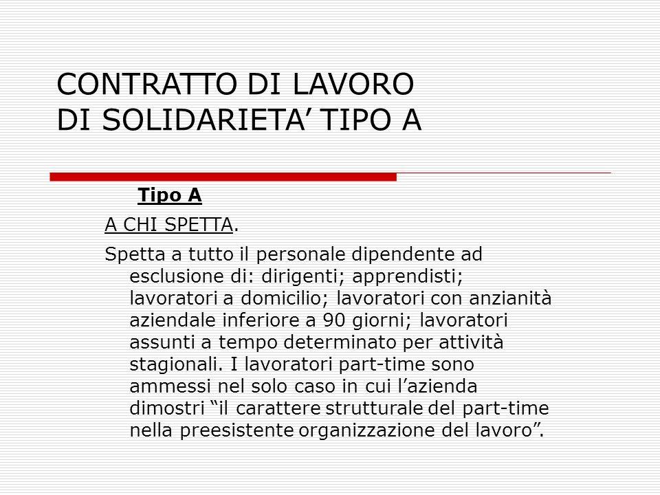 CONTRATTO DI LAVORO DI SOLIDARIETA' TIPO A