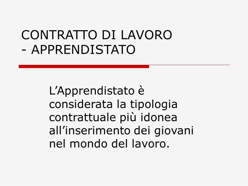 CONTRATTO DI LAVORO - APPRENDISTATO