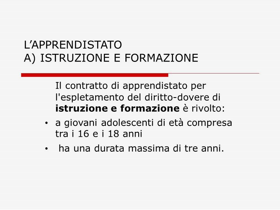 L'APPRENDISTATO A) ISTRUZIONE E FORMAZIONE