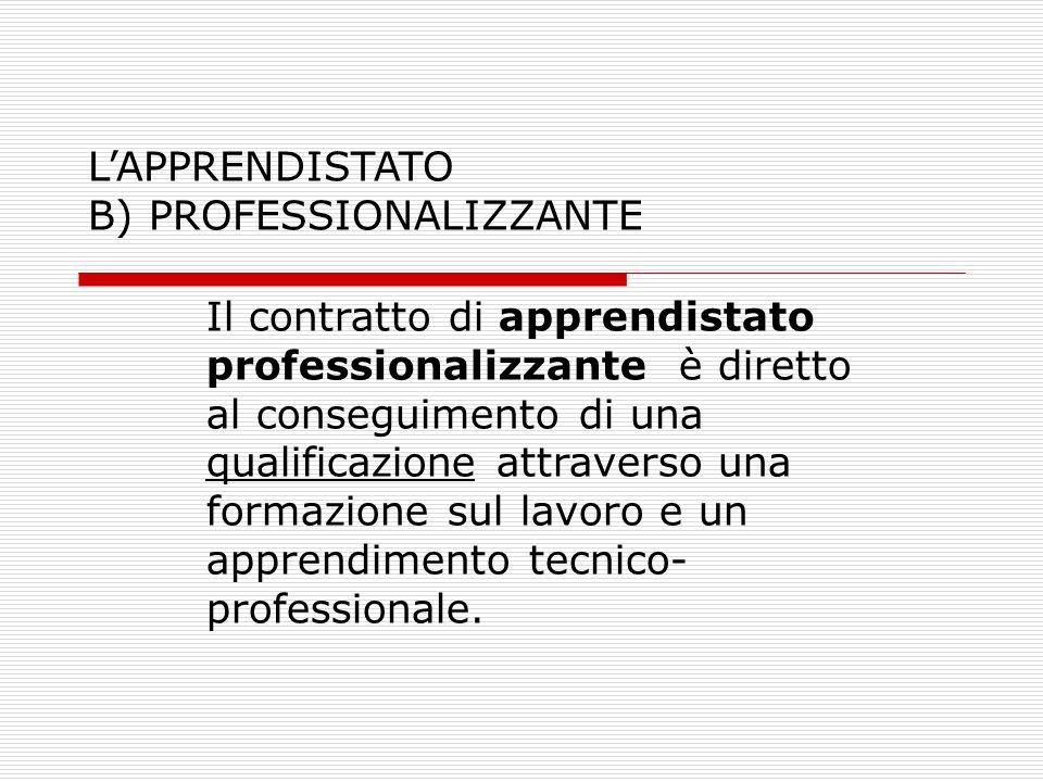 L'APPRENDISTATO B) PROFESSIONALIZZANTE