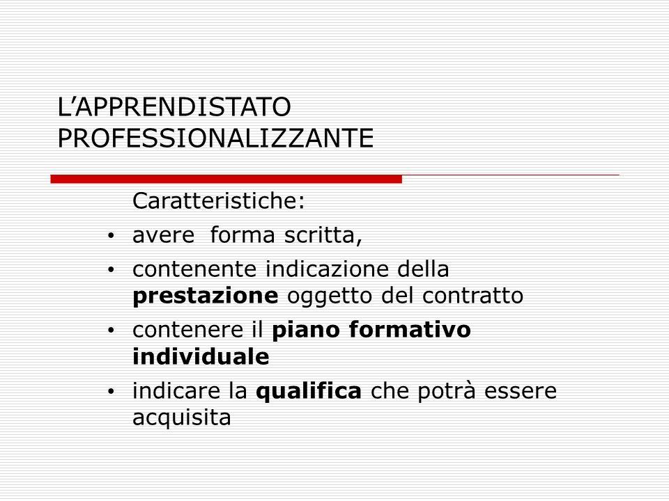 L'APPRENDISTATO PROFESSIONALIZZANTE