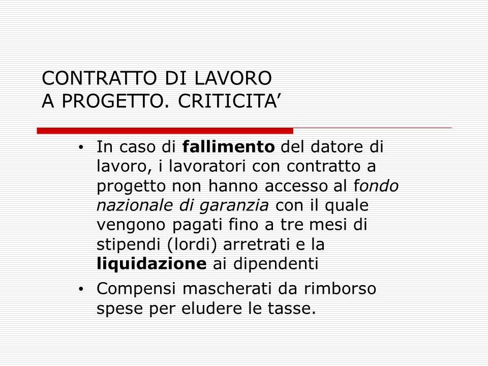 CONTRATTO DI LAVORO A PROGETTO. CRITICITA'