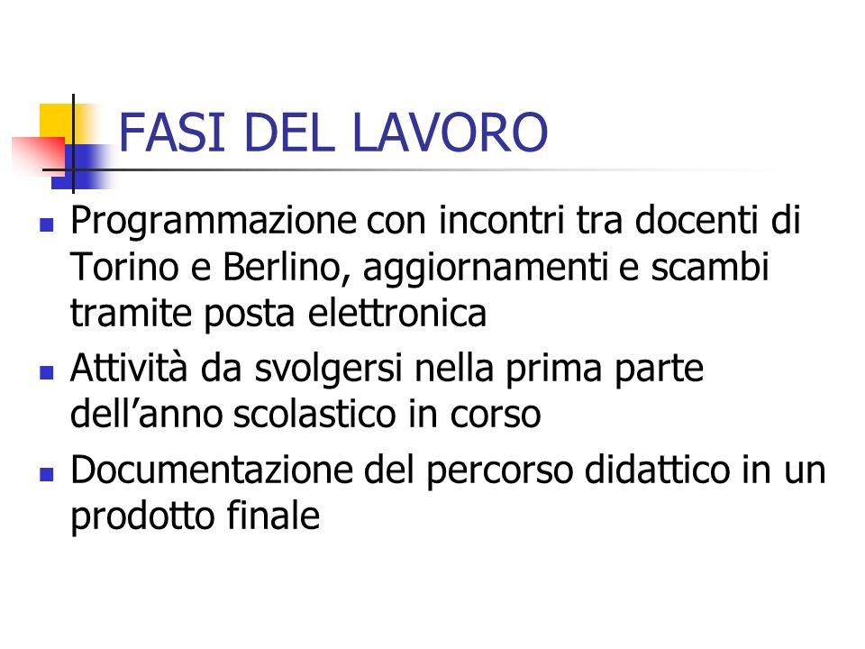 FASI DEL LAVORO Programmazione con incontri tra docenti di Torino e Berlino, aggiornamenti e scambi tramite posta elettronica.