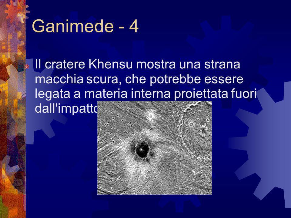 Ganimede - 4 Il cratere Khensu mostra una strana macchia scura, che potrebbe essere legata a materia interna proiettata fuori dall impatto.