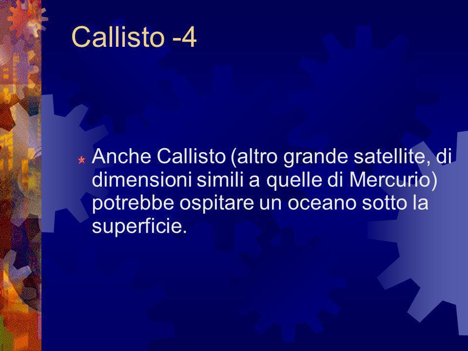 Callisto -4Anche Callisto (altro grande satellite, di dimensioni simili a quelle di Mercurio) potrebbe ospitare un oceano sotto la superficie.