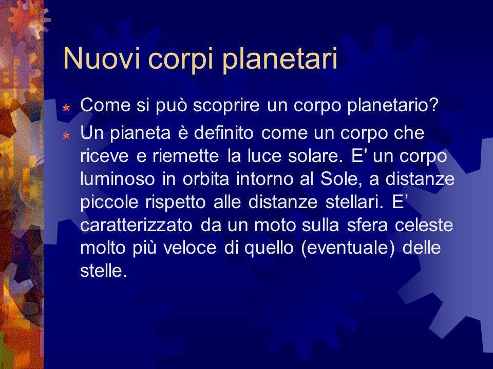 Nuovi corpi planetari Come si può scoprire un corpo planetario