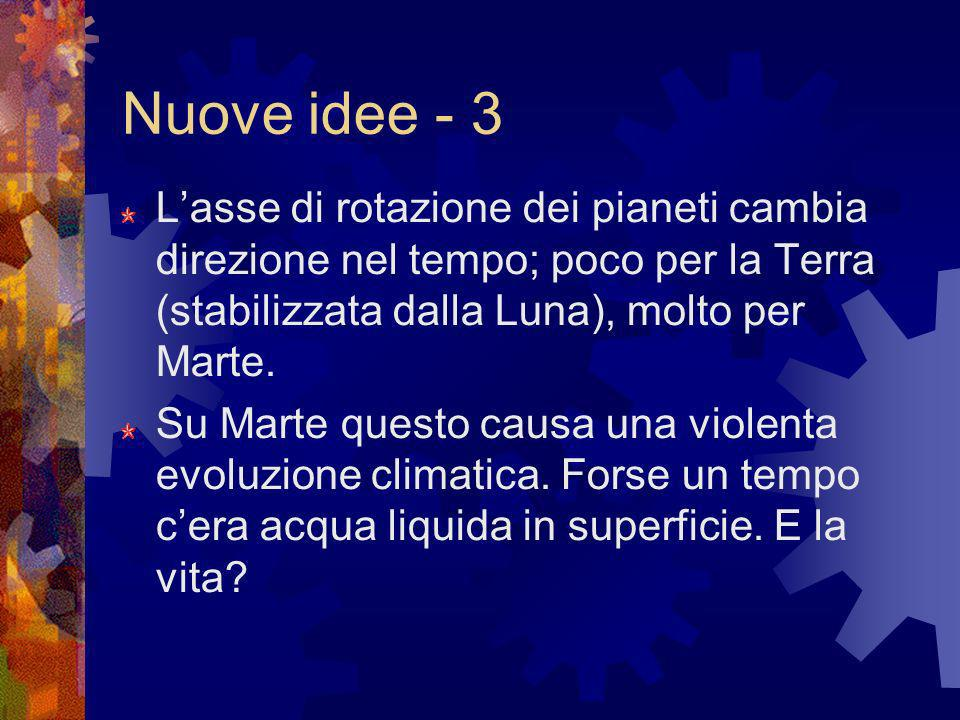 Nuove idee - 3 L'asse di rotazione dei pianeti cambia direzione nel tempo; poco per la Terra (stabilizzata dalla Luna), molto per Marte.