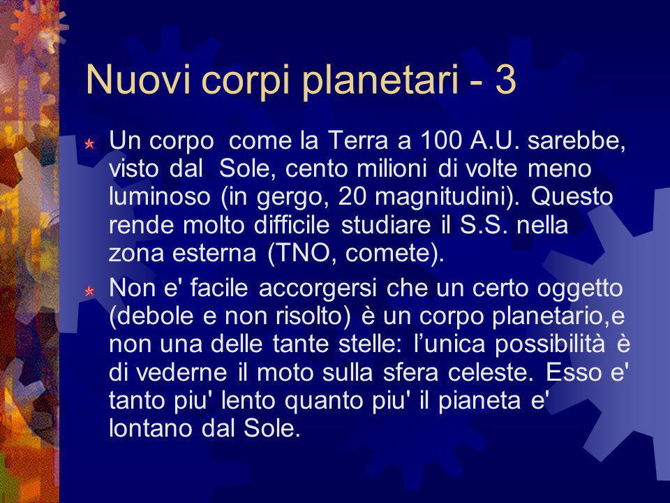 Nuovi corpi planetari - 3