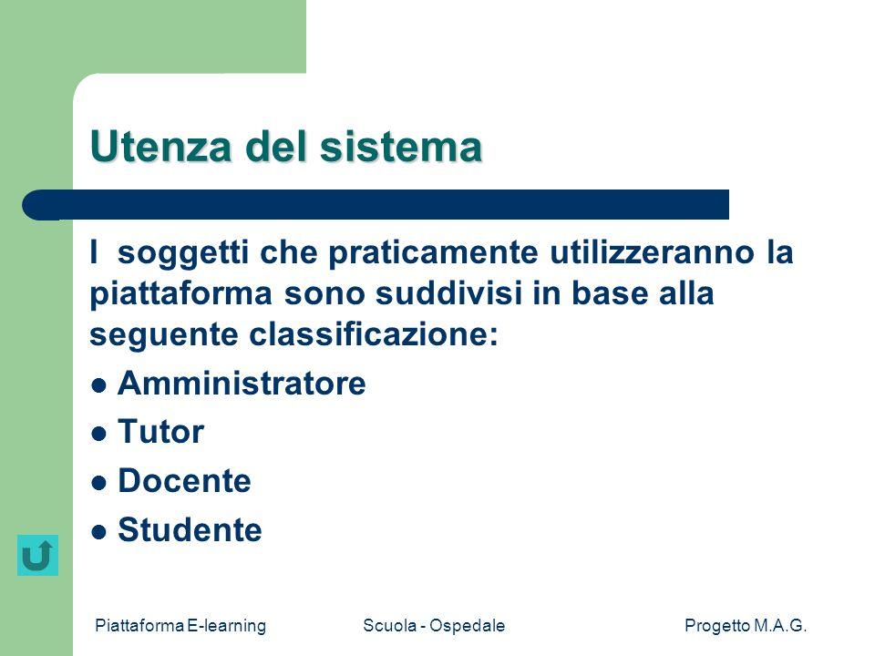 Utenza del sistema I soggetti che praticamente utilizzeranno la piattaforma sono suddivisi in base alla seguente classificazione: