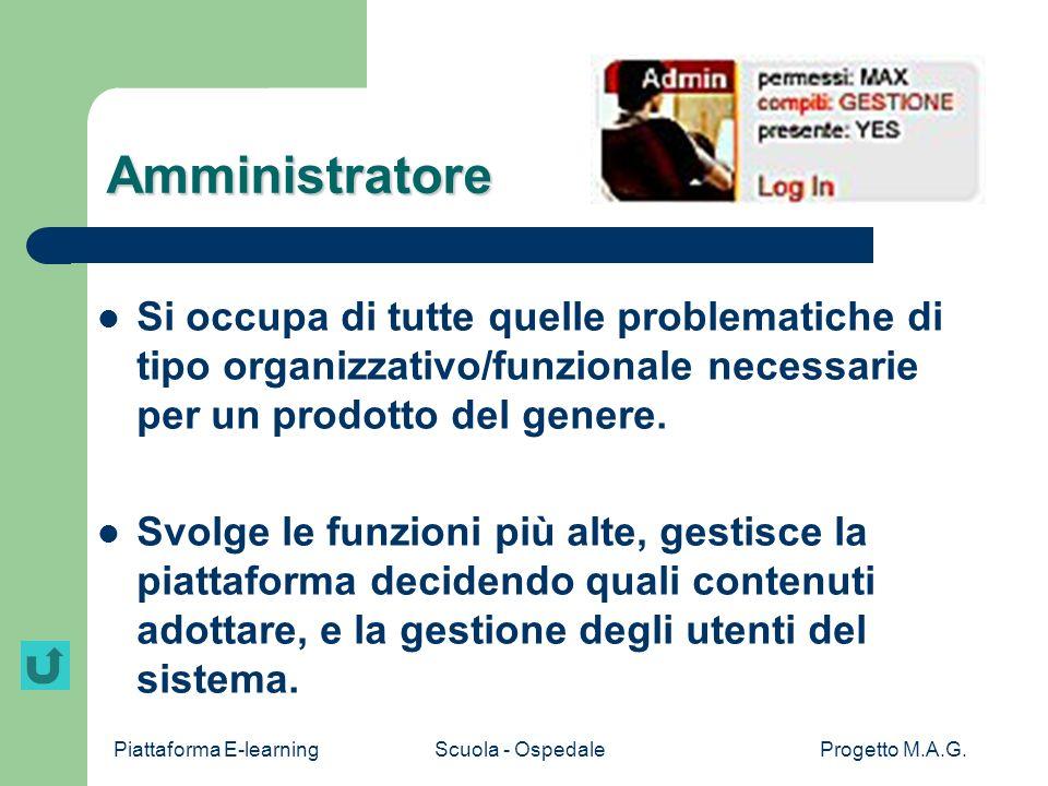 Amministratore Si occupa di tutte quelle problematiche di tipo organizzativo/funzionale necessarie per un prodotto del genere.