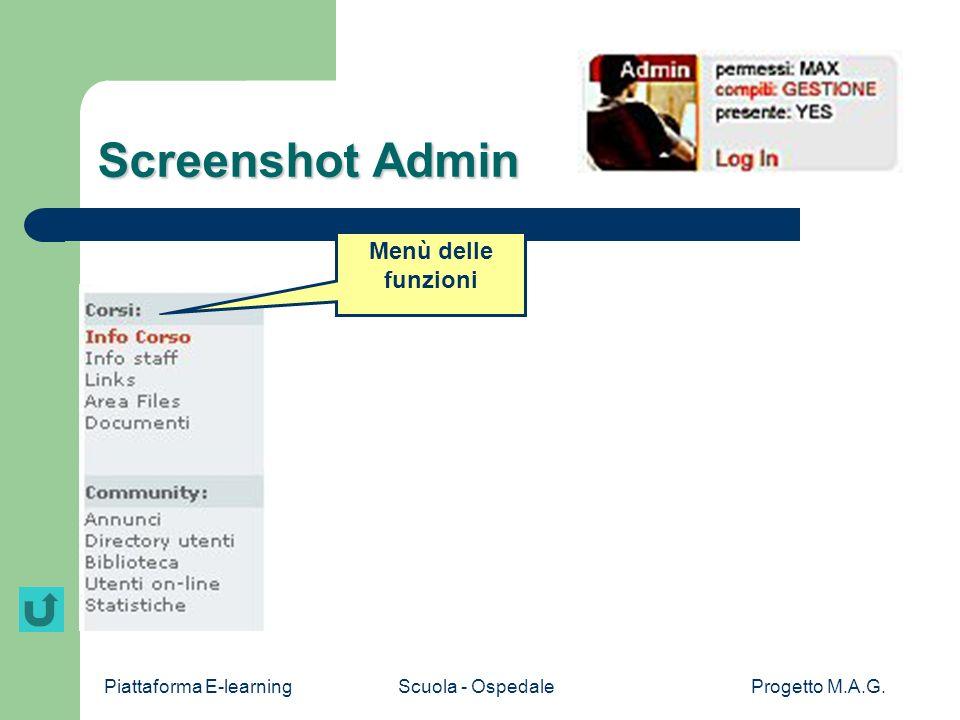 Screenshot Admin Menù delle funzioni