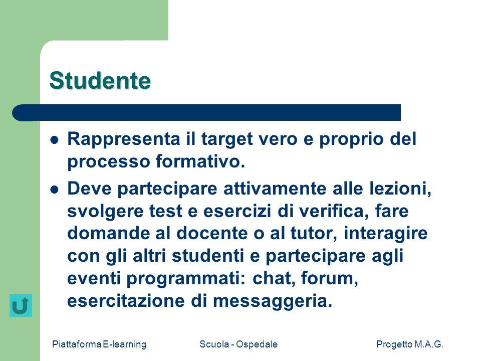 Studente Rappresenta il target vero e proprio del processo formativo.
