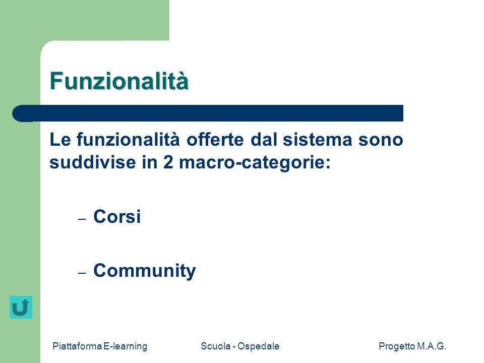Funzionalità Le funzionalità offerte dal sistema sono suddivise in 2 macro-categorie: Corsi.