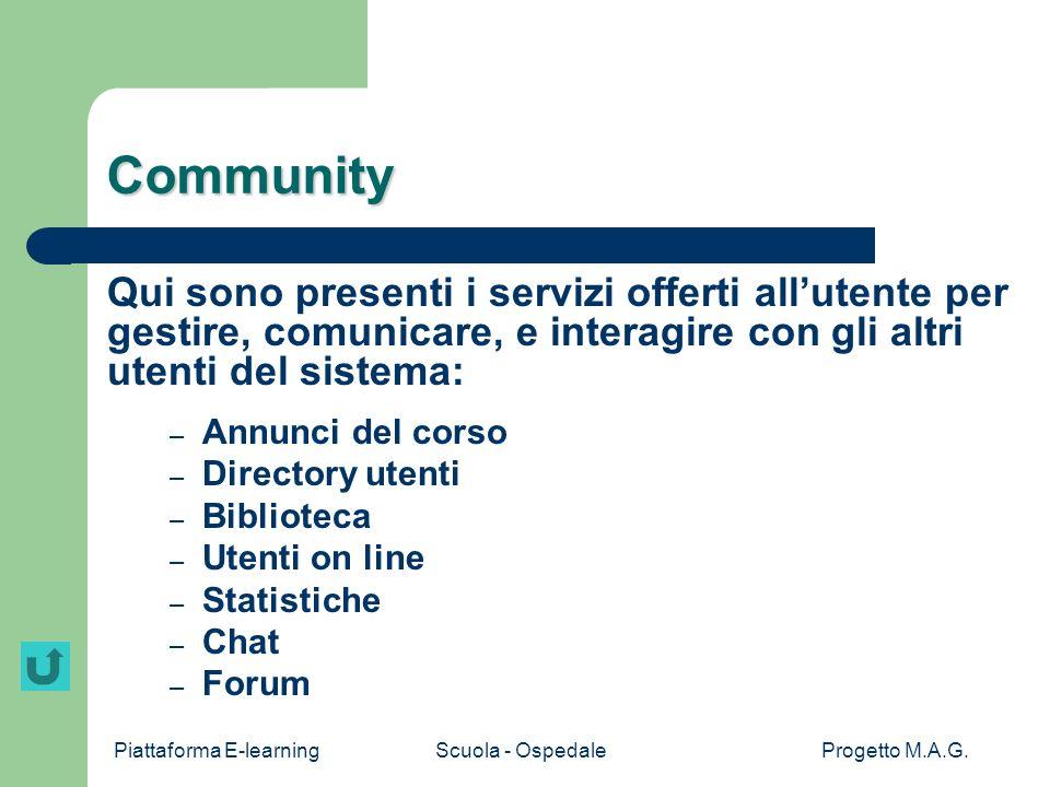 CommunityQui sono presenti i servizi offerti all'utente per gestire, comunicare, e interagire con gli altri utenti del sistema: