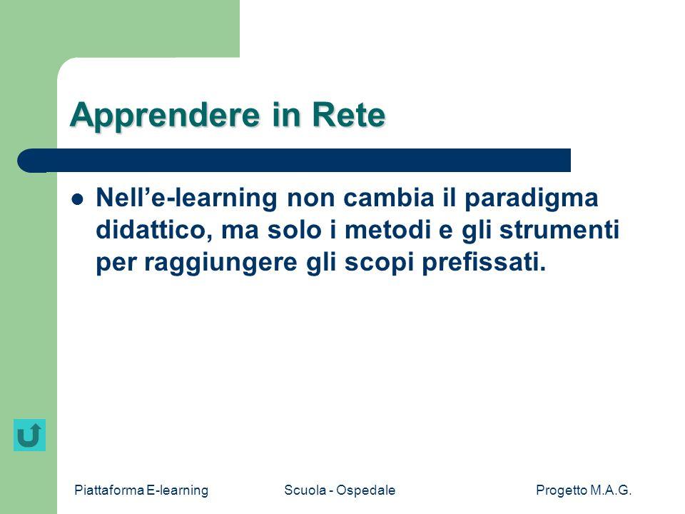 Apprendere in Rete Nell'e-learning non cambia il paradigma didattico, ma solo i metodi e gli strumenti per raggiungere gli scopi prefissati.