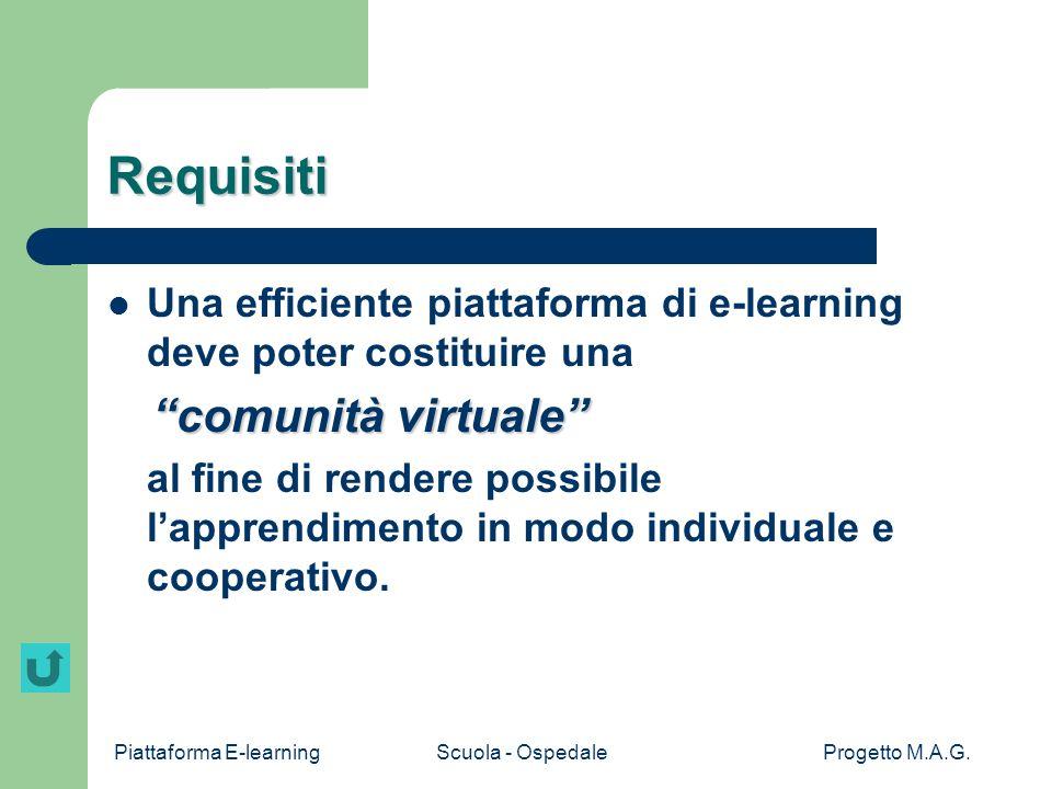 Requisiti Una efficiente piattaforma di e-learning deve poter costituire una. comunità virtuale