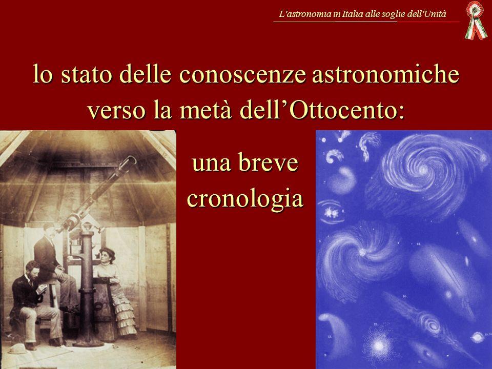 lo stato delle conoscenze astronomiche verso la metà dell'Ottocento: