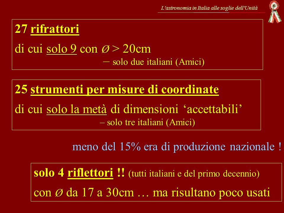 di cui solo 9 con Ø > 20cm – solo due italiani (Amici)