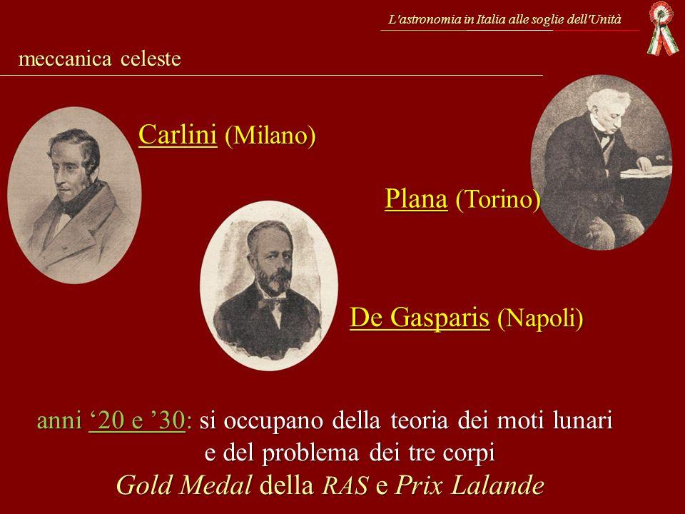 Carlini (Milano) Plana (Torino) De Gasparis (Napoli)