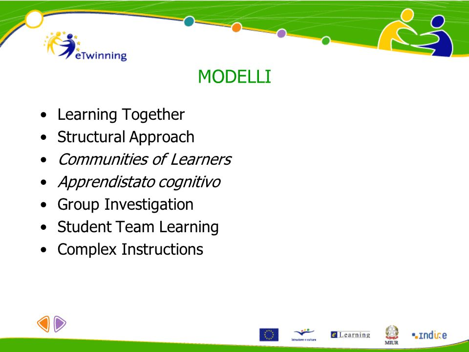MODELLI Learning Together Structural Approach Communities of Learners