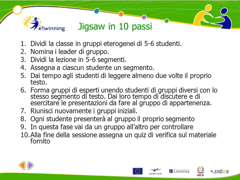 Jigsaw in 10 passiDividi la classe in gruppi eterogenei di 5-6 studenti. Nomina i leader di gruppo.