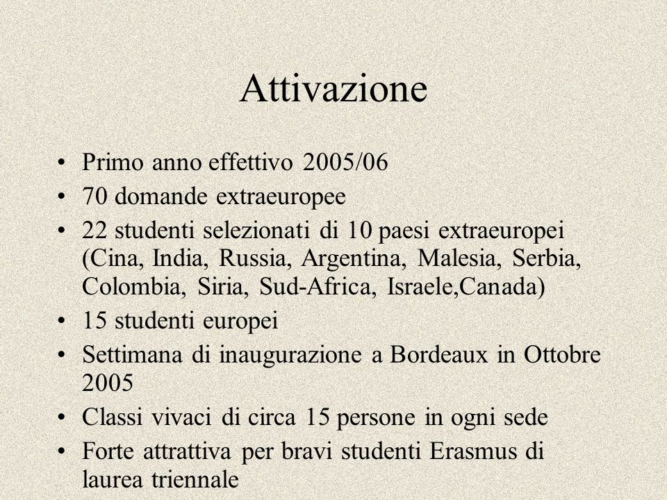 Attivazione Primo anno effettivo 2005/06 70 domande extraeuropee