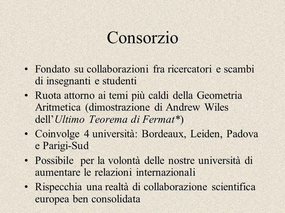 Consorzio Fondato su collaborazioni fra ricercatori e scambi di insegnanti e studenti.
