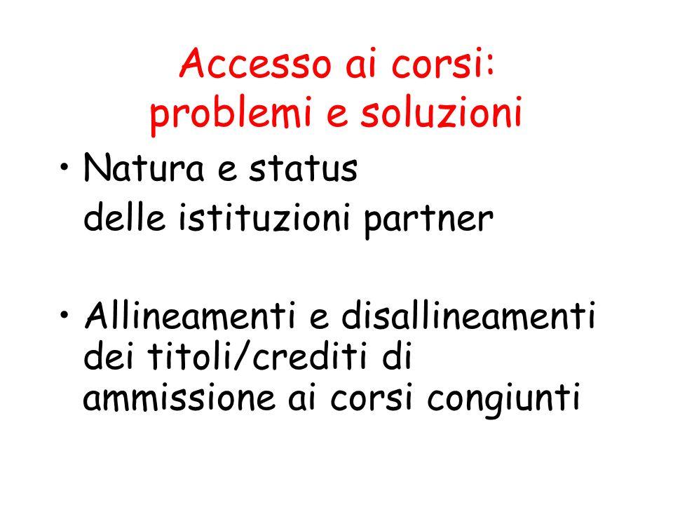 Accesso ai corsi: problemi e soluzioni