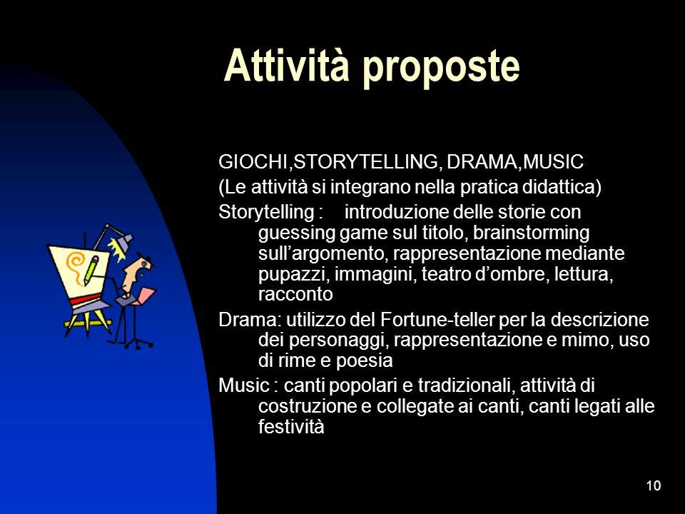 Attività proposte GIOCHI,STORYTELLING, DRAMA,MUSIC