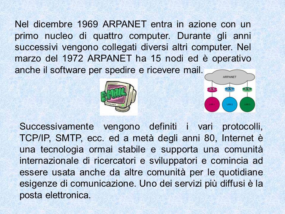 Nel dicembre 1969 ARPANET entra in azione con un primo nucleo di quattro computer. Durante gli anni successivi vengono collegati diversi altri computer. Nel marzo del 1972 ARPANET ha 15 nodi ed è operativo anche il software per spedire e ricevere mail.