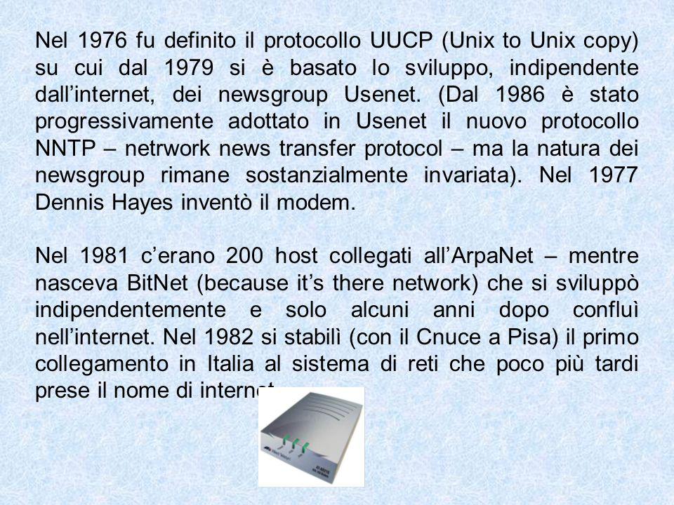 Nel 1976 fu definito il protocollo UUCP (Unix to Unix copy) su cui dal 1979 si è basato lo sviluppo, indipendente dall'internet, dei newsgroup Usenet. (Dal 1986 è stato progressivamente adottato in Usenet il nuovo protocollo NNTP – netrwork news transfer protocol – ma la natura dei newsgroup rimane sostanzialmente invariata). Nel 1977 Dennis Hayes inventò il modem.