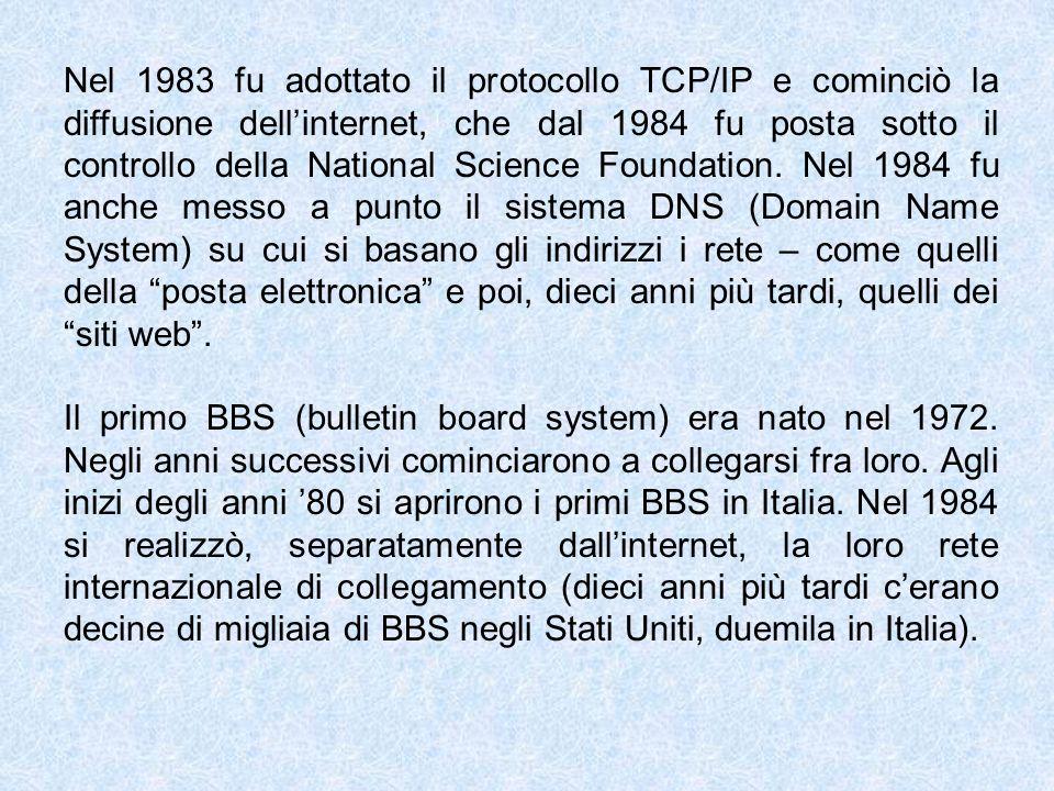 Nel 1983 fu adottato il protocollo TCP/IP e cominciò la diffusione dell'internet, che dal 1984 fu posta sotto il controllo della National Science Foundation. Nel 1984 fu anche messo a punto il sistema DNS (Domain Name System) su cui si basano gli indirizzi i rete – come quelli della posta elettronica e poi, dieci anni più tardi, quelli dei siti web .