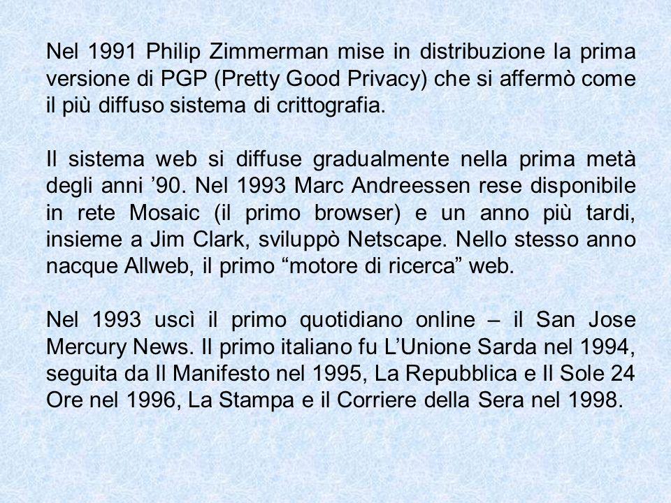 Nel 1991 Philip Zimmerman mise in distribuzione la prima versione di PGP (Pretty Good Privacy) che si affermò come il più diffuso sistema di crittografia.