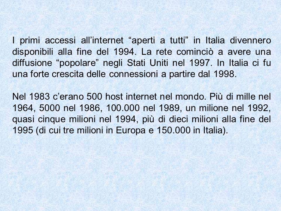 I primi accessi all'internet aperti a tutti in Italia divennero disponibili alla fine del 1994. La rete cominciò a avere una diffusione popolare negli Stati Uniti nel 1997. In Italia ci fu una forte crescita delle connessioni a partire dal 1998.